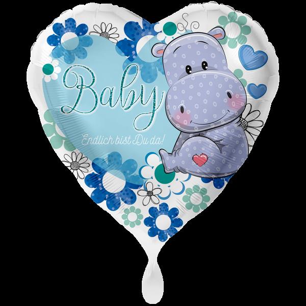 1 Ballon XXL - Baby Nilpferd Junge