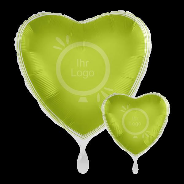 1 Werbeballon - Herz, Ø 43cm, 2-Seitig - Satin - Apfelgrün