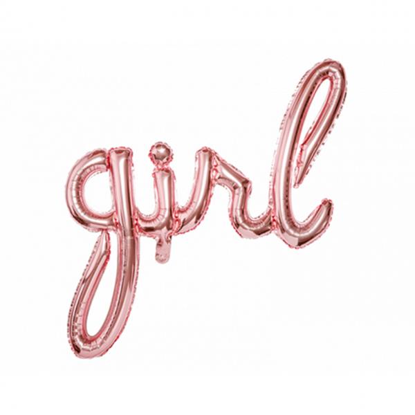 1 Ballon - Schriftzug - Girl - Rosegold