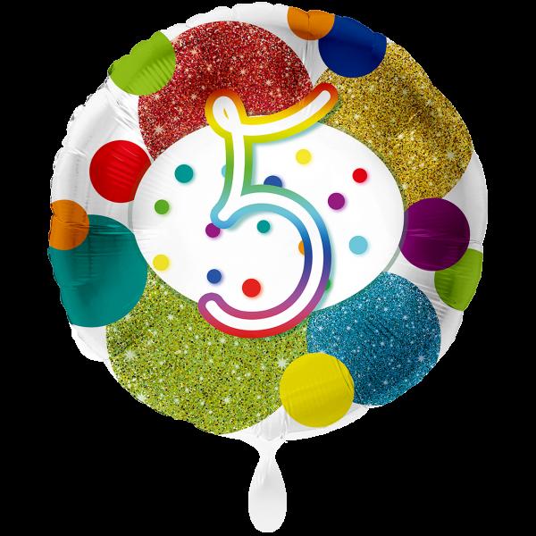 1 Ballon XXL - Zahl 5 Glitzer