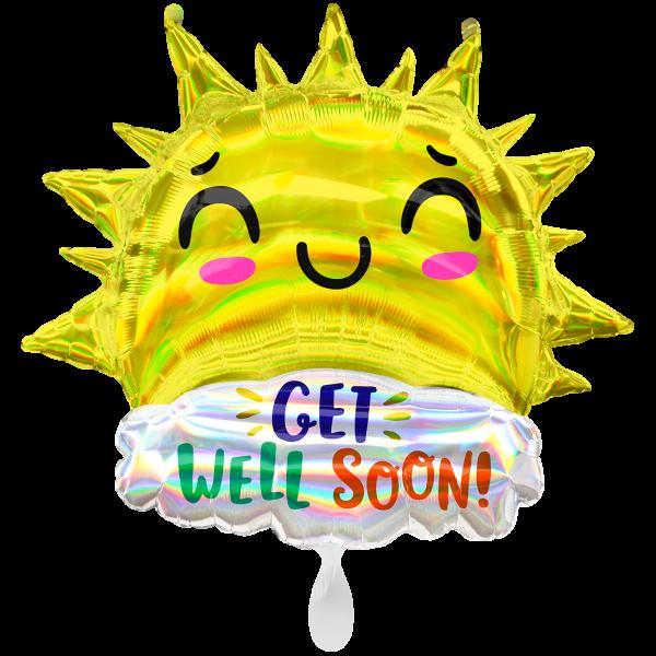 1 Ballon XXL - Irdescent Get Well Happy Sun