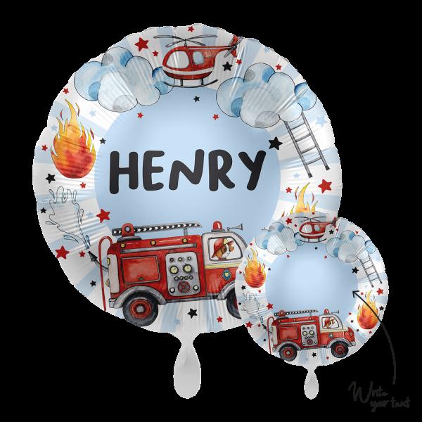 1 Ballon - Personalize IT - Happy Fire Engine