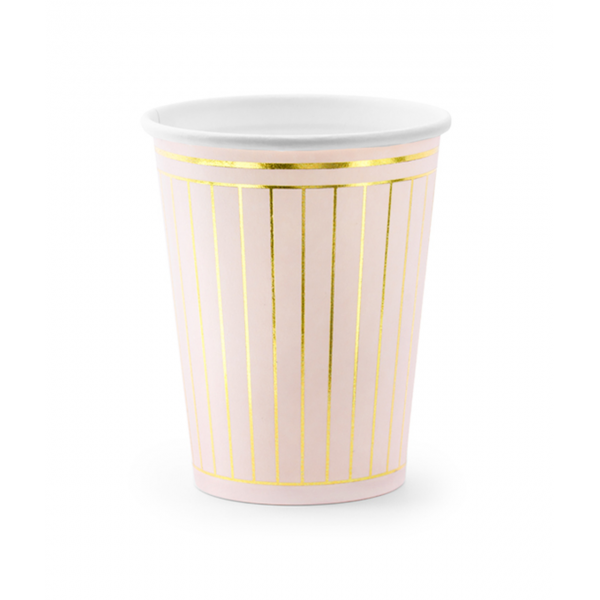6 Pappbecher Trend - 260ml - Stripes Rosa