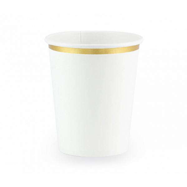 6 Pappbecher Trend - 260ml - Weiß & Gold