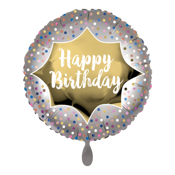 1 Ballon - Birthday Satin Gold Burst