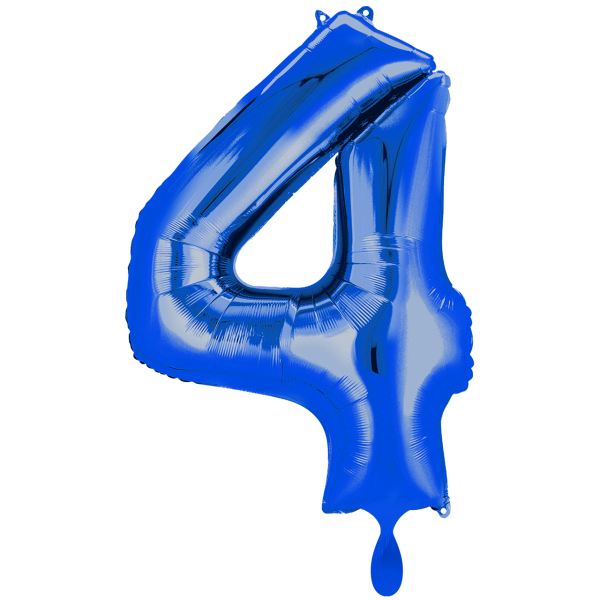 1 Ballon XXL - Zahl 4 - Blau