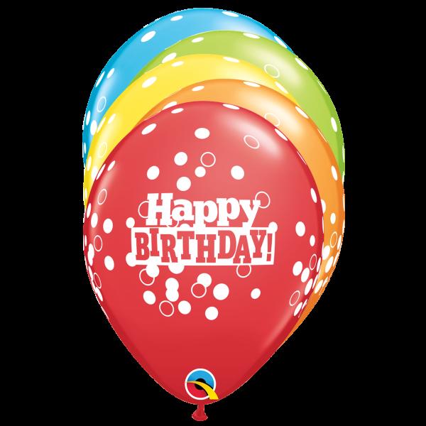 6 Motivballons - Ø 27cm - Birthday Confetti Dots