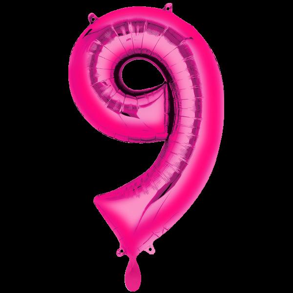1 Ballon XXL - Zahl 9 - Pink