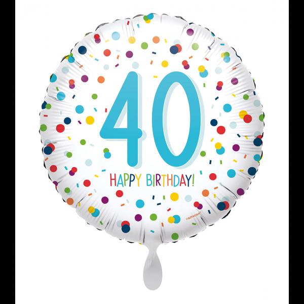 1 Ballon - EU Confetti Birthday 40