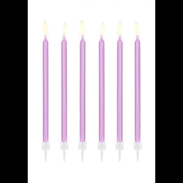 12 Kuchenkerzen XL mit Halterung - Lavendel