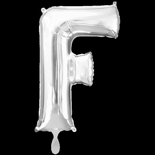 1 Ballon XXL - Buchstabe F - Silber