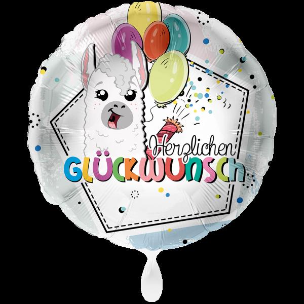 1 Ballon XXL - Lama Herzlichen Glückwunsch