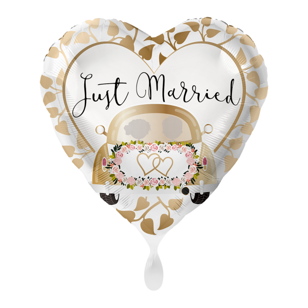 1 Ballon - Just married Auto Gold