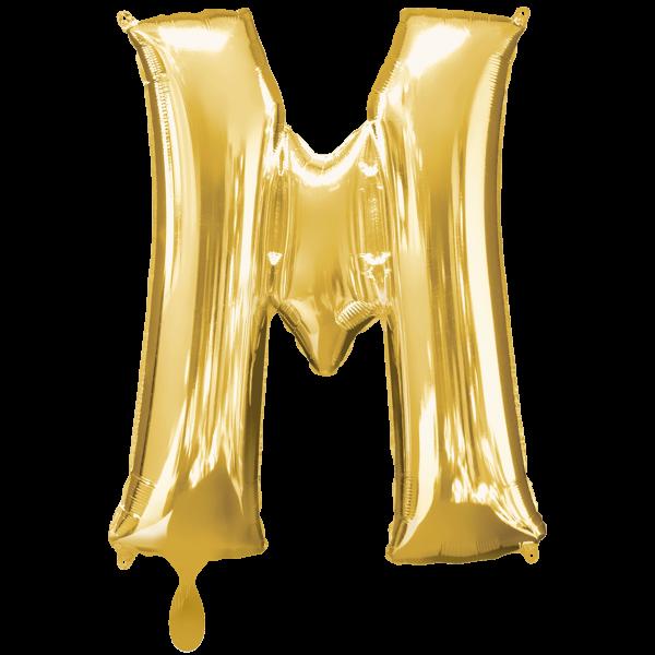 1 Ballon XXL - Buchstabe M - Gold