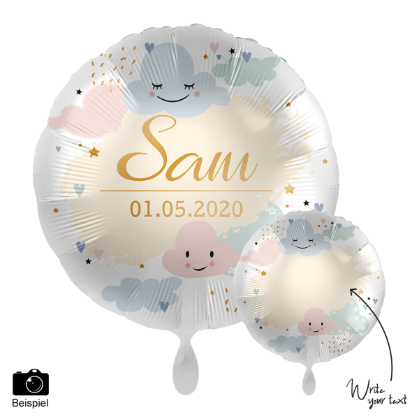 1 Ballon - Personalize IT - Happy Clouds