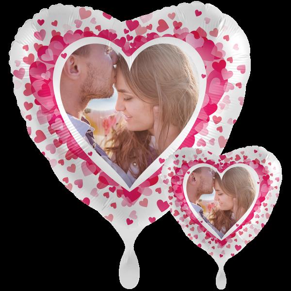 1 Ballon XXL mit Foto - Pink Hearts