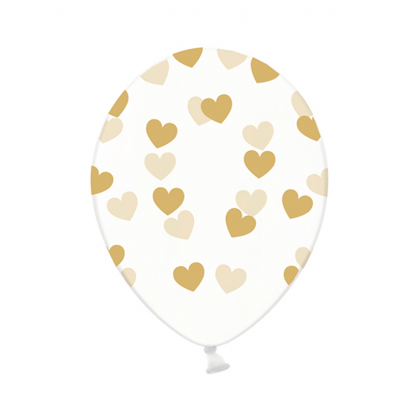 6 Motivballons Clear - Ø 30cm - Hearts - Gold
