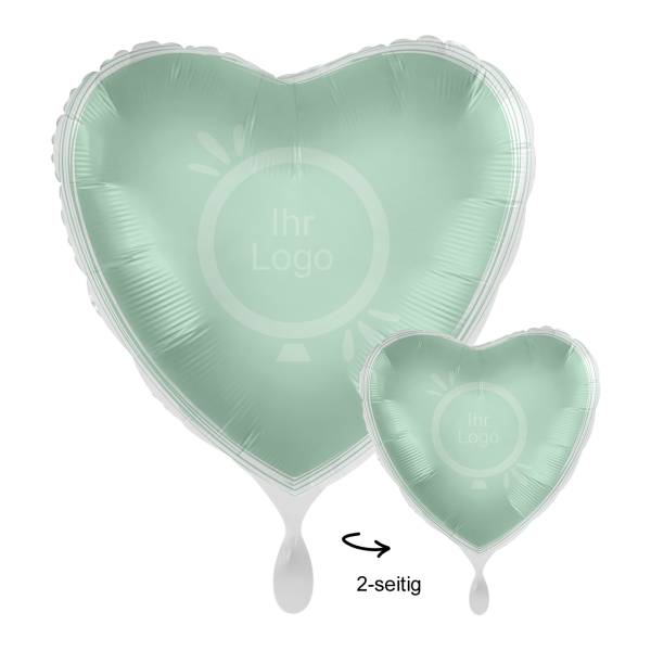 1 Werbeballon - Herz, Ø 43cm, 2-Seitig - Satin - Mint