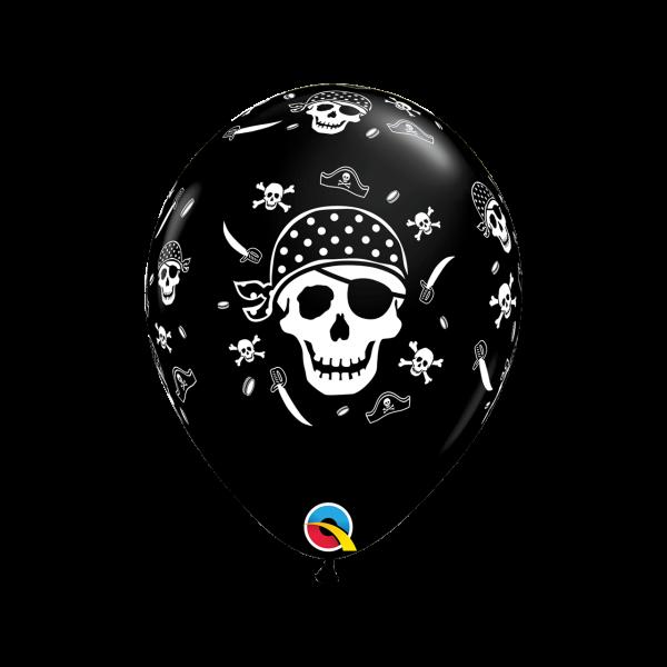 6 Motivballons - Ø 27cm - Pirate Skull & Cross Bones