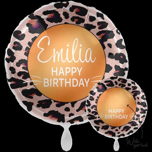 1 Ballon XXL - Personalize IT - Happy Birthday Leoprint