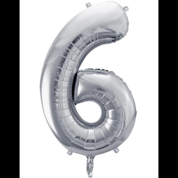 1 Ballon XXL - Zahl 6 - Silber
