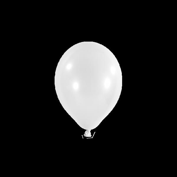 100 Miniballons - Ø 12cm - Metallic - Weiß