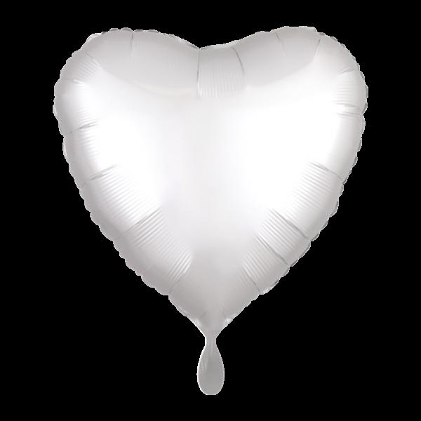 1 Ballon - Herz - Satin - Weiß