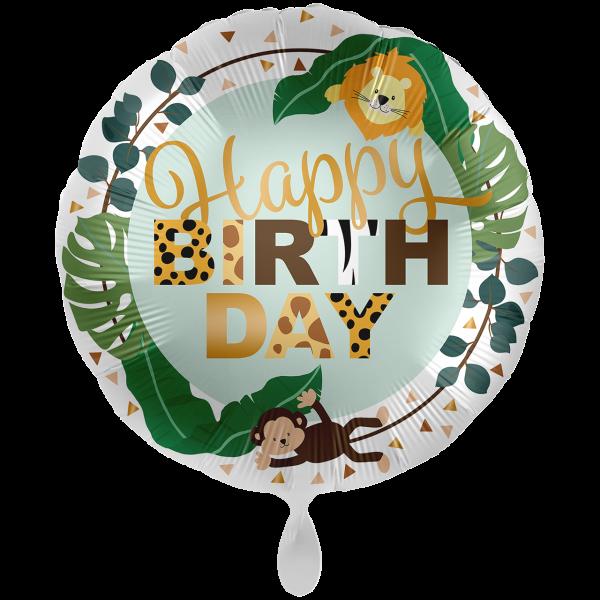 1 Ballon XXL - Jungle Friends - Happy Birthday