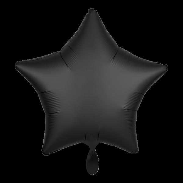 1 Ballon - Stern - Satin - Schwarz