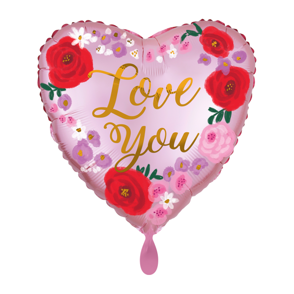 1 Ballon - Satin Love You Painted Floral