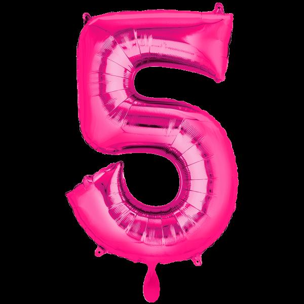 1 Ballon XXL - Zahl 5 - Pink
