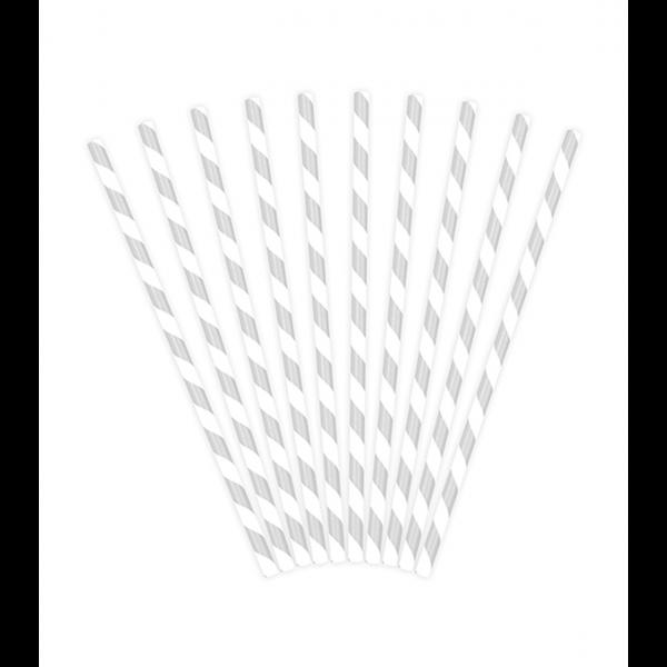 10 Papierstrohhalme - Mix - Silber