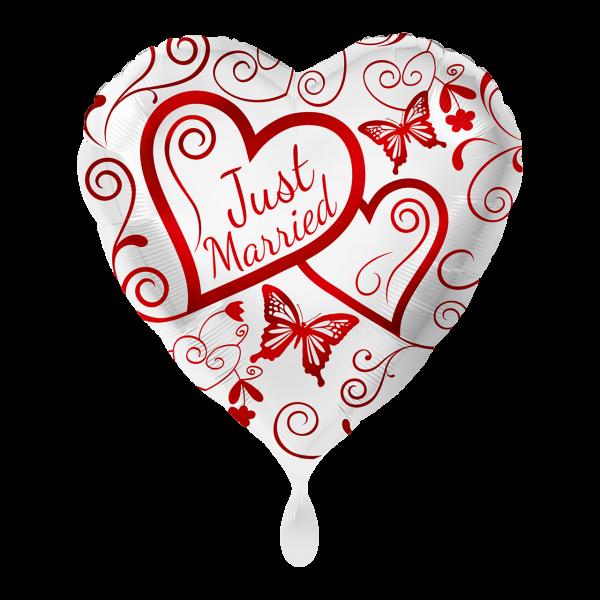 1 Ballon - Herzen Just Married