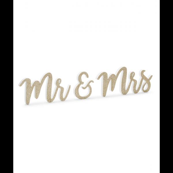 1 Holzdekoration - Mr & Mrs Gold