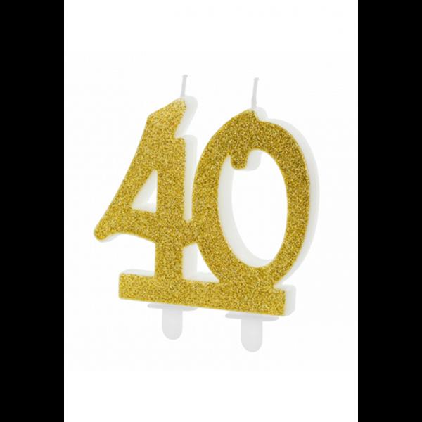 1 Kuchenkerze XL - Zahl 40 - Gold Glittery