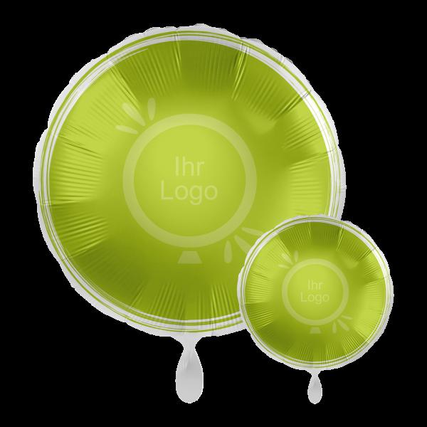 1 Werbeballon - Rund, Ø 43cm, 2-Seitig - Satin - Apfelgrün