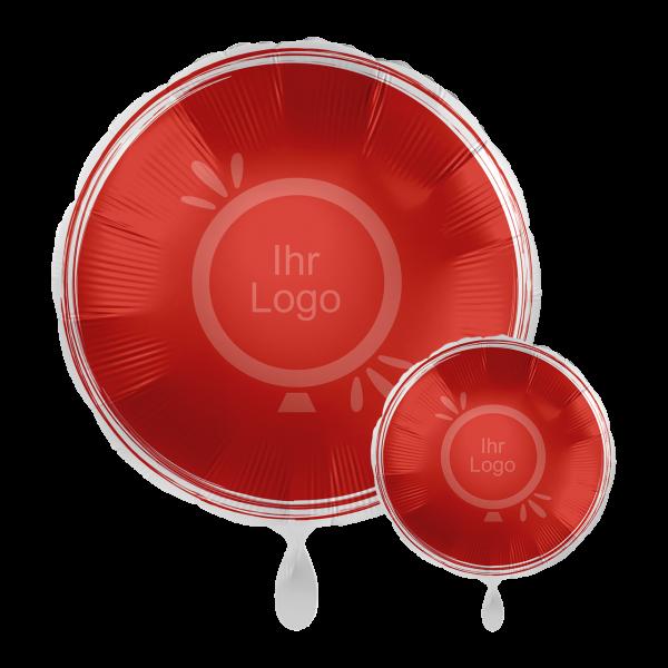 1 Werbeballon - Rund, Ø 43cm, 2-Seitig - Satin - Rot