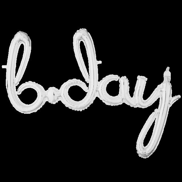1 Ballon - Schriftzug b.day - Silber