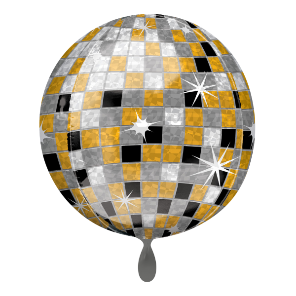 1 Ballon - Orbz - Disco Ball, Gold, Silver, Black