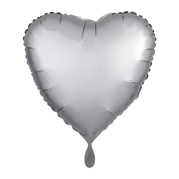 1 Ballon - Herz - Satin - Silber
