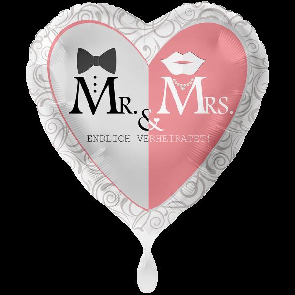 1 Ballon XXL - Mr. & Mrs. Endlich Verheiratet