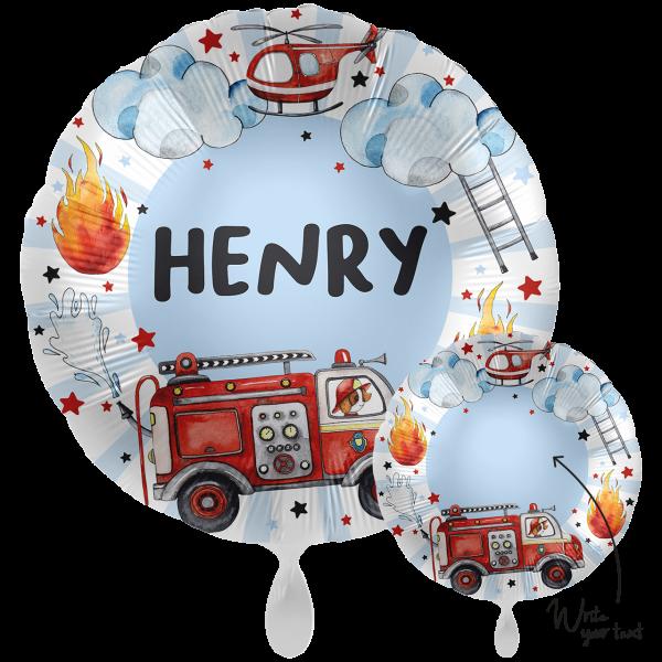 1 Ballon XXL - Personalize IT - Happy Fire Engine