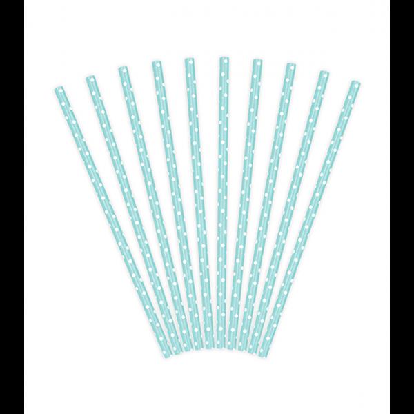 10 Papierstrohhalme - Dots - Hellblau