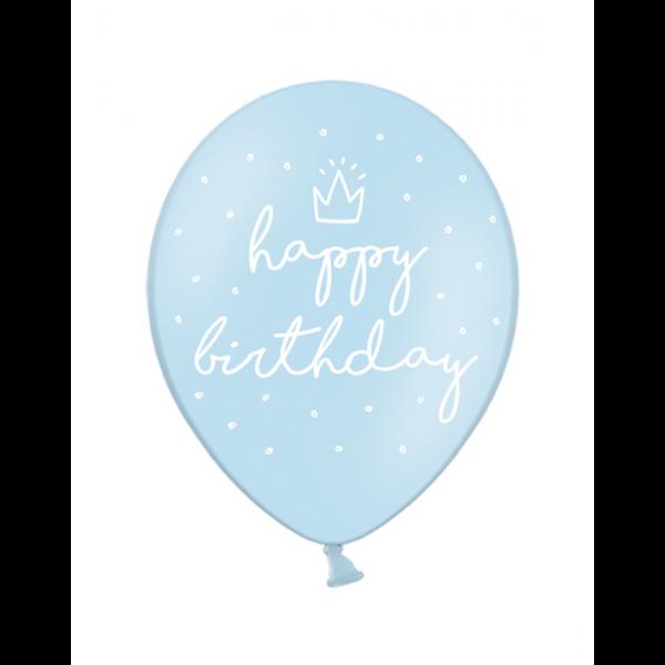 6 Motivballons - Ø 30cm - happy birthday - Hellblau