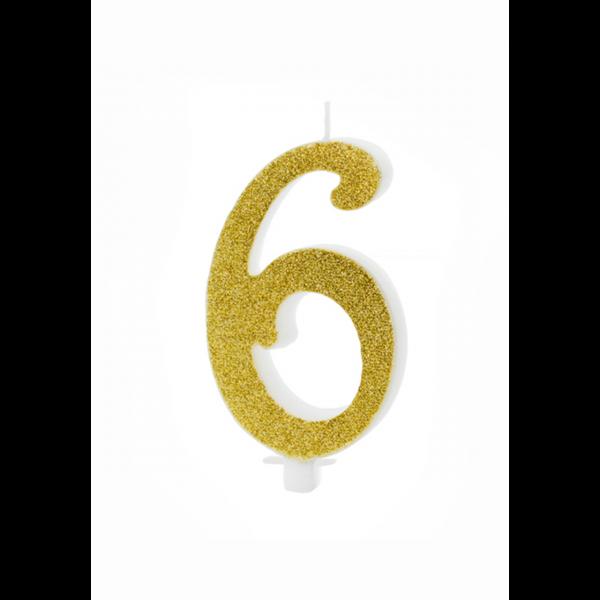 1 Kuchenkerze XL - Zahl 6 - Gold Glittery