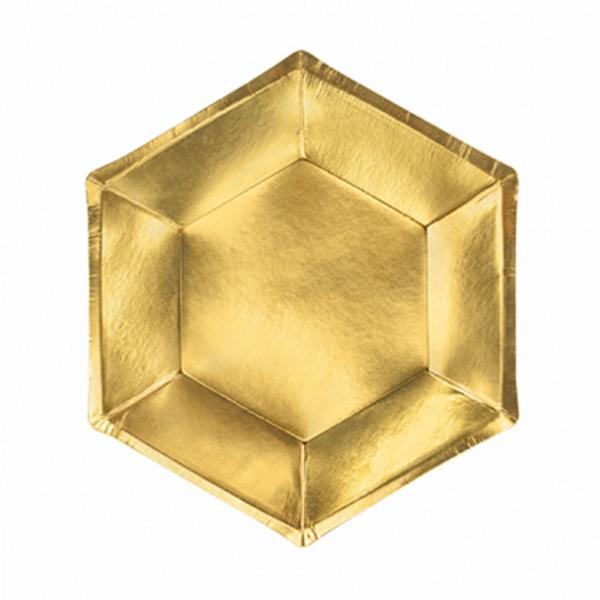 6 Pappteller Trend - Ø 20cm - Gold