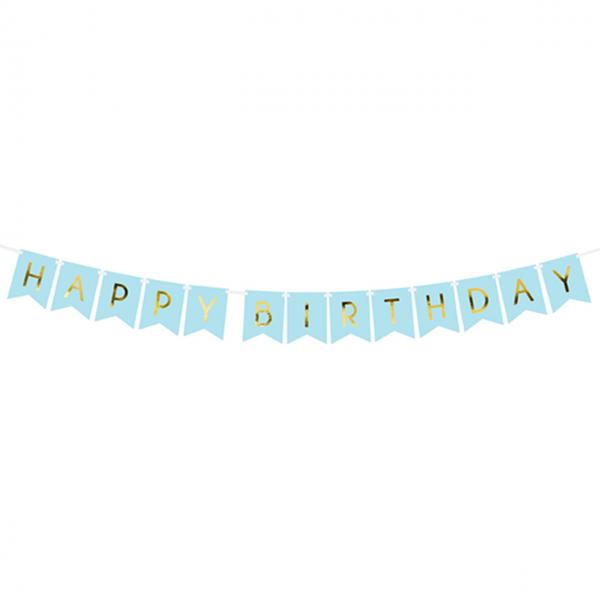 1 Bannergirlande - Happy Birthday - Hellblau