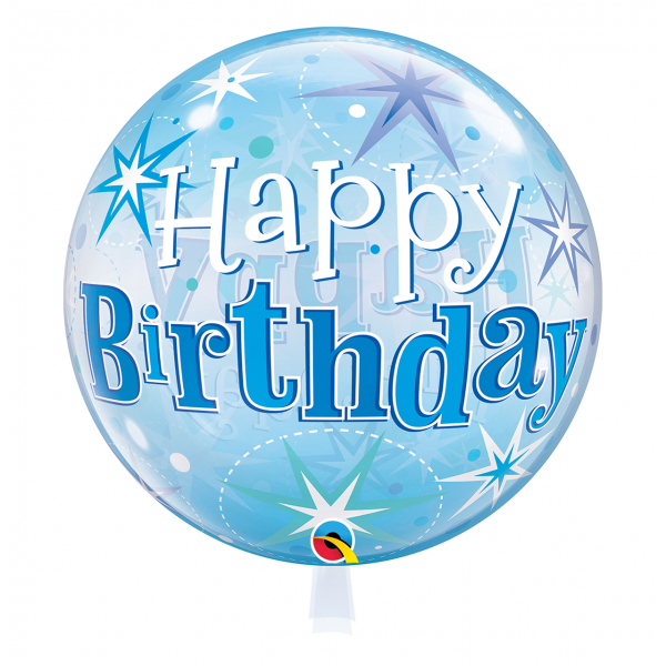 1 Bubble Ballon - Birthday Blue Starburst Sparkle
