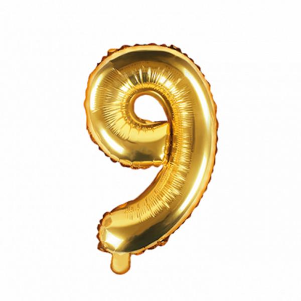 1 Ballon XS - Zahl 9 - Gold