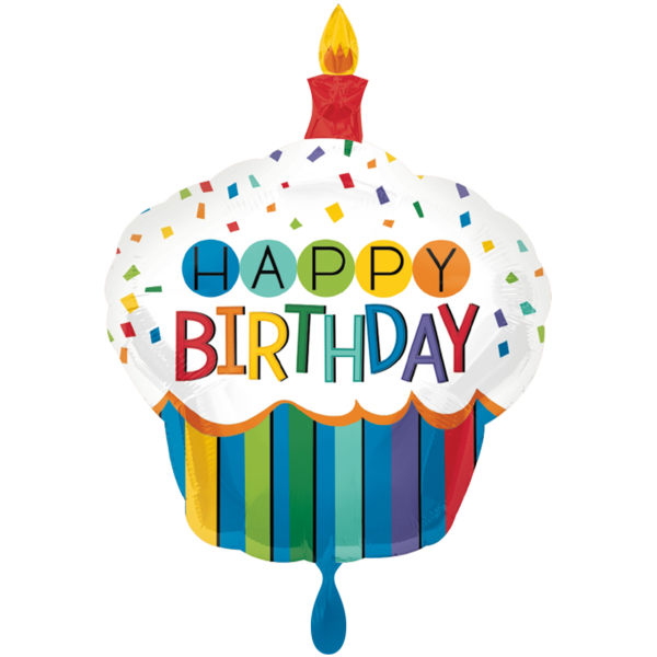 1 Ballon XXL - Rainbow Birthday Cupcake